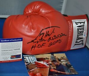 LARRY HOLMES AUTOGRAPHED RED EVERLAST BOXING GLOVE WITH 2 INSCRIPTIONS PSA/DNA
