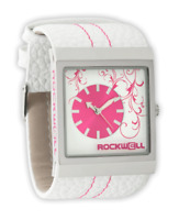 Rockwell Women's Mercedes 36mm Wrist Watch White/Pink Leather Band Analog