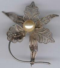 Damenbrosche Jugendstiel Silber 800, Blume mit Perle um 1920