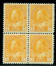Canada #105. 1 cent. Mint Never Hinged. Block of 4. Very Fine. Catalog $340