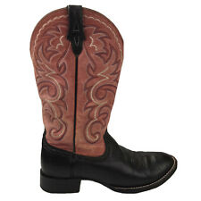 Womens 8 B Ariat Tombstone Black/Pink Leather Cowgirl Boots Cowboy Western