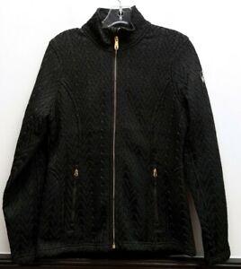 SPYDER Size XS Black Stryke Cable Knit Cableknit Fleece Lined Gold Zip Up Jacket