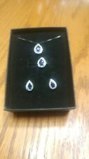 Kay Jewelers Sterling Silver Blue Sapphire Ring Necklace Earring Set