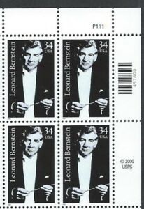 US #3521 MNH Plate Block 2001 Leonard Bernstein Conductor Tuxedo [UR #P1111]