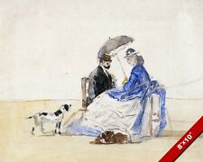 COUPLE AT THE BEACH WITH DOGS VICTORIAN ERA 1865 PAINTING ART REAL CANVAS PRINT