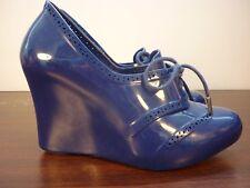 "Melissa + Alexandre Her ""Troupe"" Dark Blue Brogue Wedge Lace Up Heels Size EU 35"