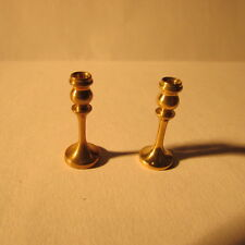 Candle Sticks ~ PAIR ~ BRASS ~ Doll House Miniature ~1/12 scale
