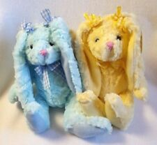 "Burton Bunny Rabbits Plush Chenille Blue Yellow Gingham Bows Easter 11"" Set of 2"