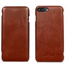 iPhone 8 PLUS & 7 PLUS Case, Fierre Shann Genuine Leather Flip Cover, Brown
