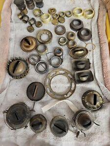 Large bundle of antique kerosene oil lamp parts - burners, Aladdin, Rayo, collar