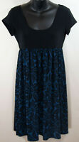 Michael Kors Blue Black Floral Short Sleeve dress Size Small S Baby Doll Summer