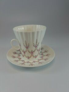 "Russian Imperial Lomonosov Porcelain, Bone China Tea Cup&Saucer ""Pink Flowers"""