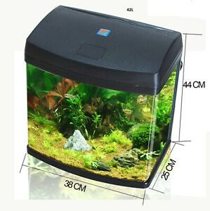 42L Aquarium Fish Glass Tank Fresh Water LED Light Filter Black BXA38