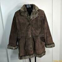 GEORGE Soft Suede LEATHER Jacket Blazer Womens 3X Brown insulated Buttoned coat