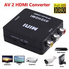 Input RCA AV to HDMI Output Converter Adapter Composite AV2HDMI 720p/1080p Black