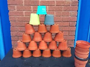 """50 X Plant Pots 11 - 12cm Strong Plastic Round Flower Pot 4.5"""" High Quality Used"""