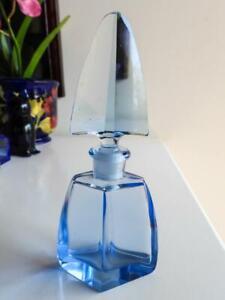 Antique Bohemian Art Deco Blue Glass Perfume Bottle C1920
