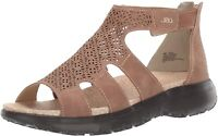 JBU Womens Torry NuBuck Peep Toe Casual Strappy Sandals, Taupe, Size 10.0 Dz2t