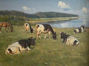 """KNUD EDSBERG(1911-2003) """"COWS IN THE FIELD"""""""