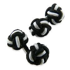 Boutons de manchette Noir et Blanc tissu passementerie tressée - Black silk knot