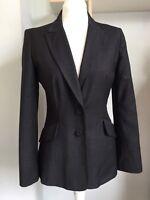 DAMSEL IN A DRESS Dark Grey Wool Blend Tailored Blazer Size 10 Work Formal