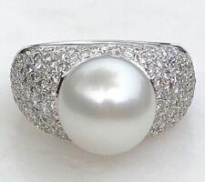 af592ac1f580 18CT Oro Blanco Enorme 11mm Blanco Sur Mar Perla 0.90ctw Corazón de Diamante