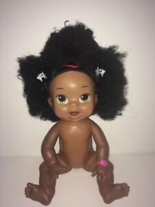 Hasbro BABY ALIVE bilingual Soft Face Green Eyes African American Doll 2014 Eats