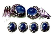 Sterling Silver Natural Blue Sapphire & Cubic zircon Cufflinks & tuxedo buttons