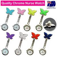Nurse Watch Chrome Butterfly Pendant Clip Pocket Watch for Nurse Pouch Pick Bag