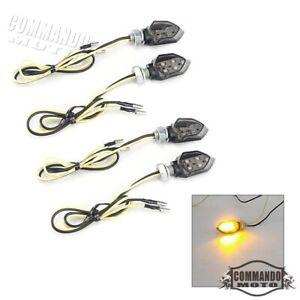 4pcs Mini Motorcycle LED Turn Signal Indicators Light Amber Blinker E8 approved