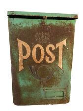 Green Swedish Mailbox Danish English Wall Aged Patina 14� Sweden post style