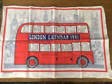 New listing Souvenir Kitchen Dish Towel London Landmarks Double Decker Red Bus Calendar 1981