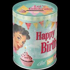 TIRELIRE (MONEY BOX) METALLIQUE : HAPPY BIRTHDAY (JOYEUX ANNIVERSAIRE) VINTAGE