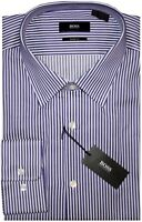 NEW HUGO BOSS BOLD DARK PURPLE & WHITE STRIPE SHARP FIT DRESS SHIRT 17 32/33