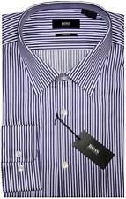 NEW HUGO BOSS BOLD DARK PURPLE & WHITE STRIPE SHARP FIT DRESS SHIRT 17 32/33