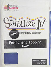 STABALIZE IT EMBROIDERY STABALIZER. PERMANENT TOPPING NAVY 1YD ADS-PT09