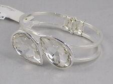 Kenneth Cole Silvertone Faceted Glass Teardrop Split Band Cuff Bracelet $35