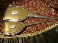 Antique/Vintage Vanity Hand Mirror w/Matching Hair Brush Silver Tone Floral 196