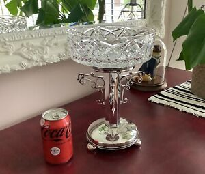 19th C. Silver Plated & Crystal Cut Glass Centrepiece Bowl Tazza TW & S C1875