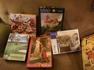 5 Puzzles, all Complete, Springbok, 4 1000 piece, 1 500 piece