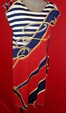 ~~LEONARD PARIS COUTURE Signed Red White Blue Military Nautical Dress Sz XL~~