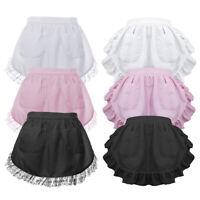 Women Vintage Waist Apron Lace Ruffles with 2 Pockets Headband Maid Costume