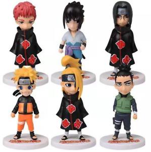 6pcs Naruto Sasuke Sasori Sakura Shikamaru Deidara Itachi Figures Anime Toy Set