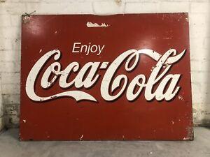 Large Antique Coca Cola Shop Sign