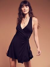 Free People Womens Stretch Jersey Dress Size S Small Sleeveless Mini Wrap Style