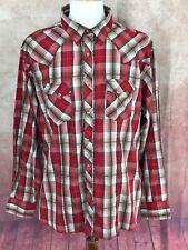 Wrangler MVG082M Western Pearl Snap Thick Stitch Red Plaid Shirt Men's XXL