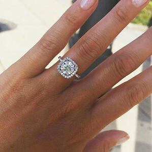 1.70 Ct Natural Round Square Halo Pave Diamond Engagement Ring - GIA Certified