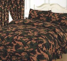 KHAKI GREEN BEIGE & CHOCOLATE DOUBLE BED ARMY CAMOUFLAGE DUVET COVER BEDDING SET