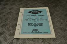 Amal 1940-1954 Carb Carburettor Settings & Spare Parts List Book Manual