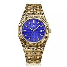TOP LUXURY VINTAGE WATERPROOF WATCH GOLD BLUE STAINLESS STEEL MEN BRACELET